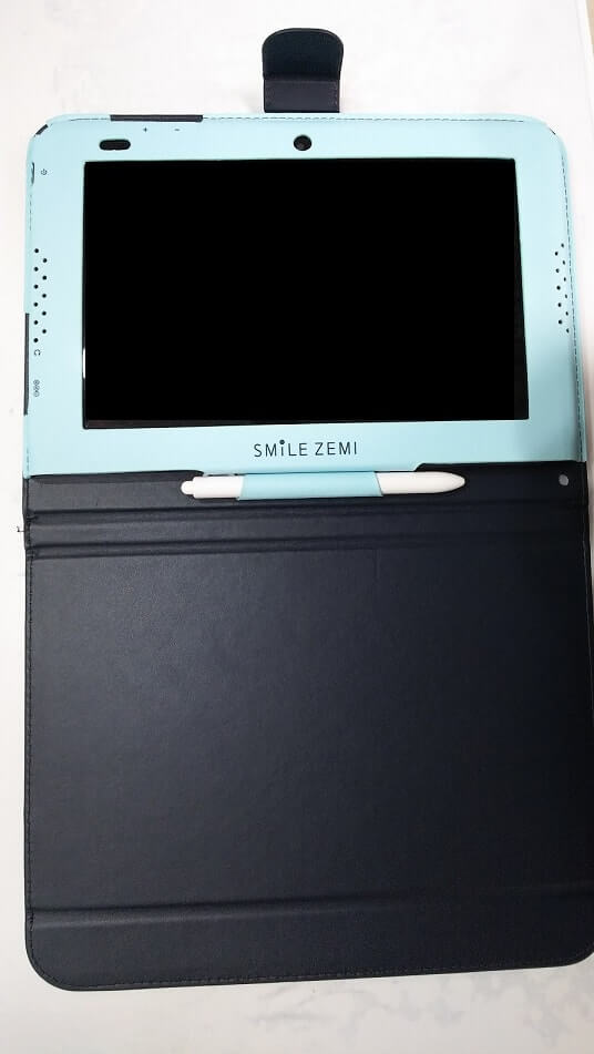 青いタブレット画面