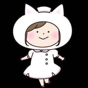 猫の被り物をした看護師